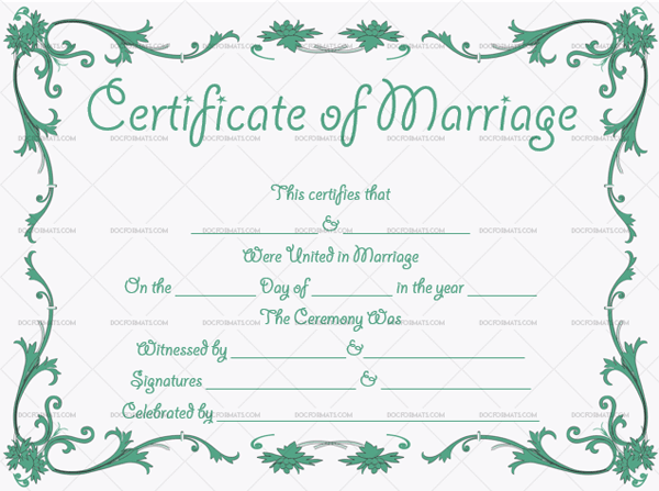 Marriage Certificate Template (Green, fake marriage certificate)