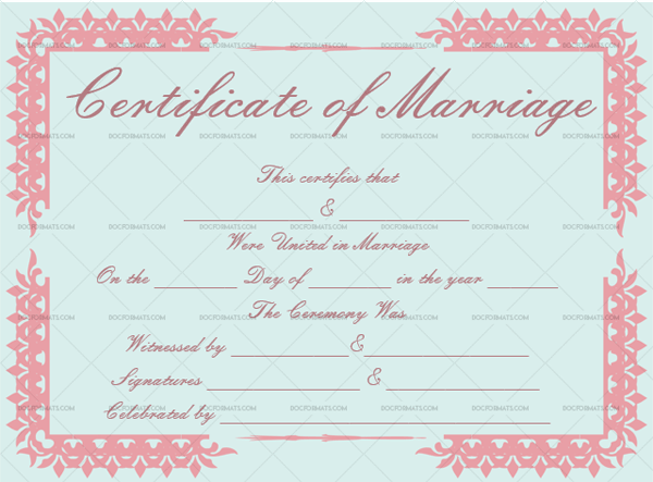 Marriage Certificate Template (Soft Pink, Fillable Template)
