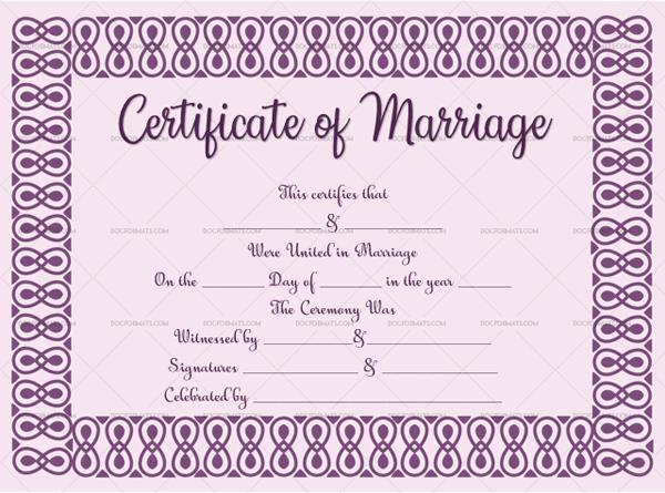 3 Marriage Certificate Template (Purple, Editable in MS Word)