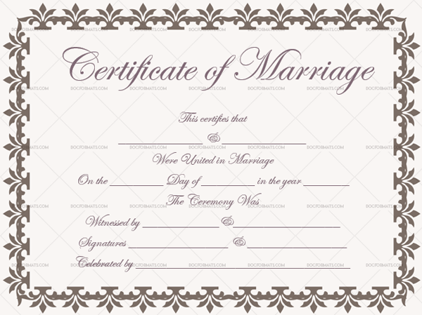 Marriage Certificate Template (Sandsowrd, Editable Template)