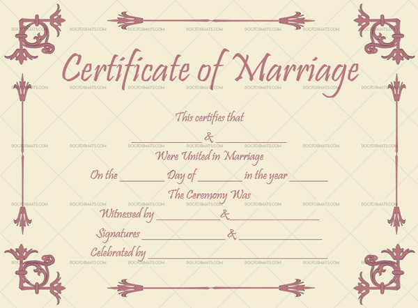 Marriage Certificate Template (Pastel Magenta, Design Template in Word