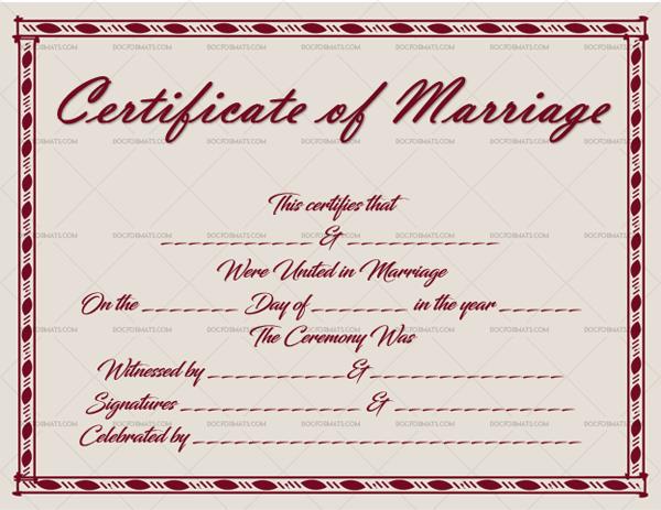 32 Marriage Certificate Template Dark Red Editable Template #1884