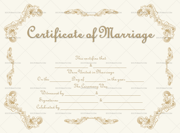 Marriage Certificate Template (Gold Sketch, Editable Template)