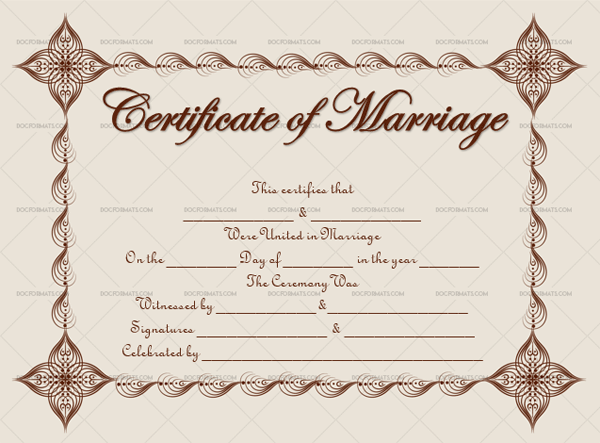 Marriage Certificate Template (Dark Brown, Blank Template)