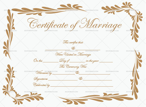 Marriage Certificate Template (Dusty Gold, Customizable Template)