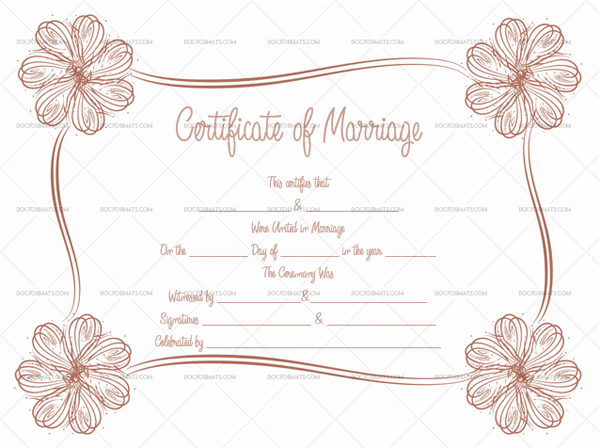 Marriage Certificate Template (Bayge Floral, Printable and Editable)
