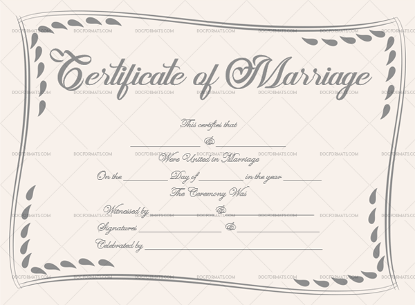 Marriage Certificate Template (Simple, Editable Template in Word)