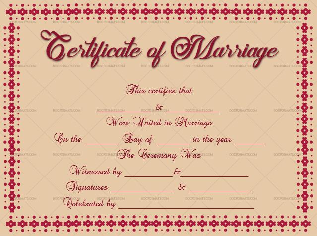 Marriage Certificate Template (Maroon, Edidtable Template in Word)