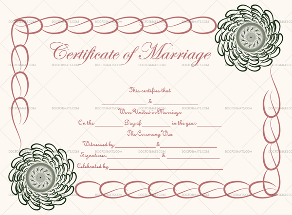 Marriage Certificate Template (Green Spiral, Fillable Template)