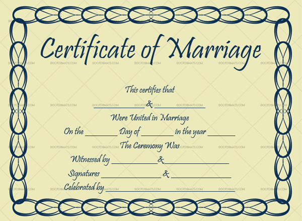 Marriage Certificate Template (Cylindrical, Customisable in Word