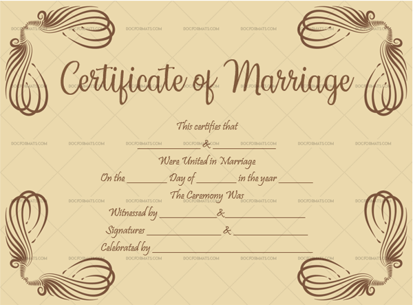 Marriage Certificate Template (sandal, Blank Template)