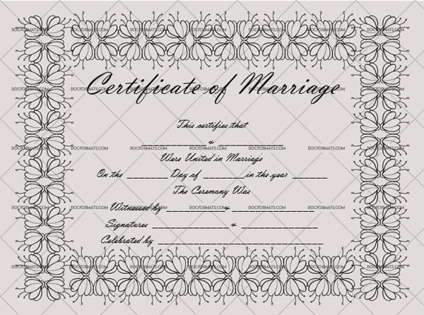 Marriage Certificate Template (Metallic Grey, fake marriage certificate)