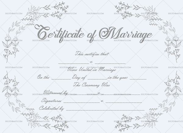 Marriage Certificate Template (Silver, fancy marriage certificate)