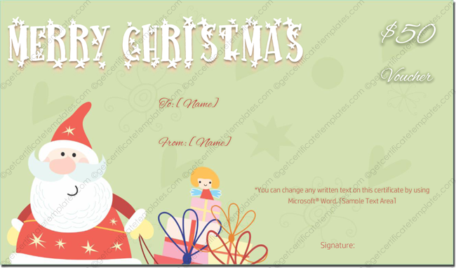 50$ Christmas Gift Voucher (Christmas Gift Card)