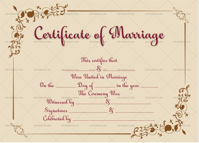 Marriage Certificate Template (Golden, Blank Template)