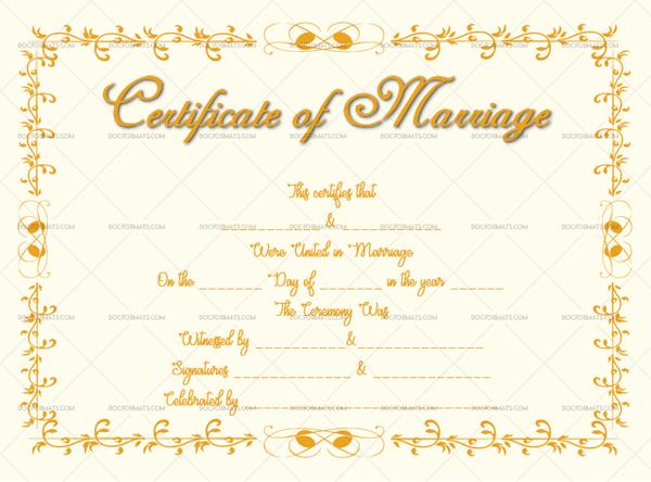 Marriage Certificate Template (orange, decorative marriage certificate)