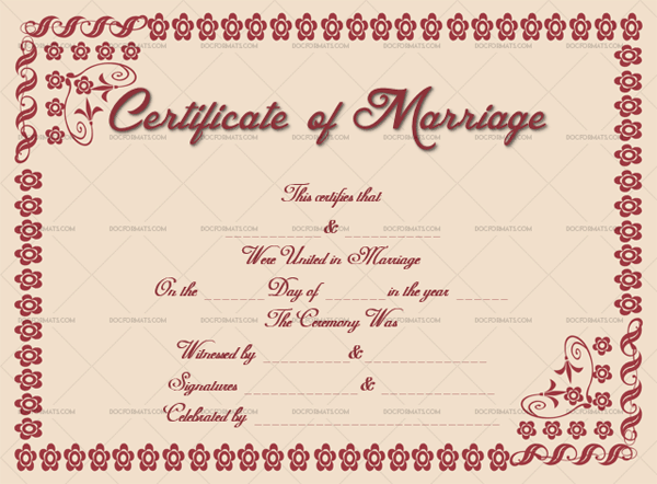 Marriage Certificate Template (Pink, vintage marriage certificate template)