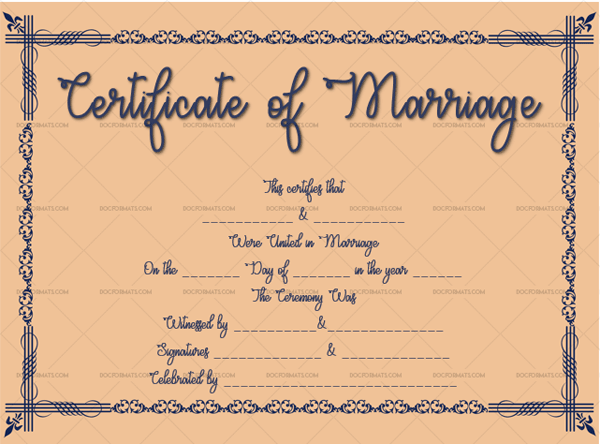 Marriage Certificate Template (Navy Blue, keepsake marriage certificate template)