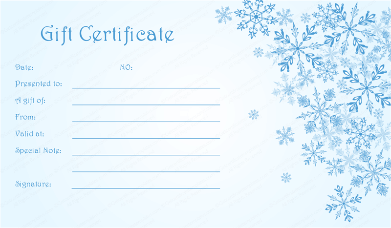Blue-Snowflake-Christmas-Gift-Certificate (Editable Christmas Gift Certificate)
