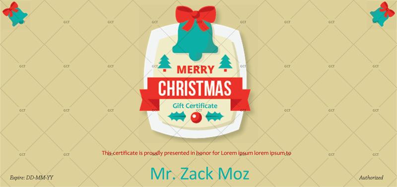 Christmas-Bells Editable Christmas Gift Certificate