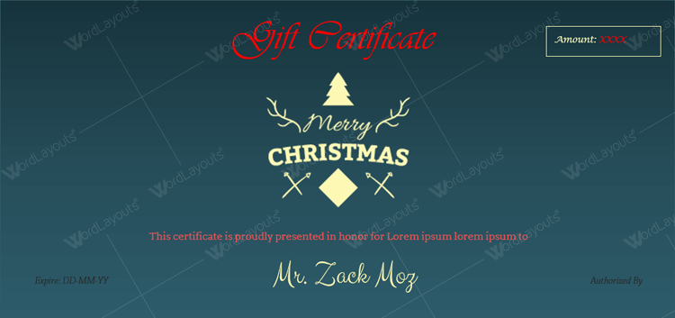 Christmas Certificate (Blue,create Christmas gift certificate)