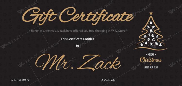 Christmas Certificate (Classic Black, editable Christmas gift certificate)