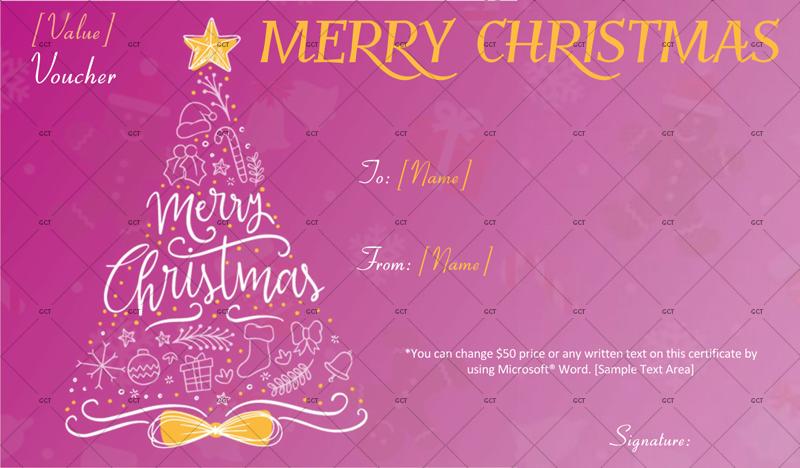 Christmas-Gift-Certificate-Artistic-Tree (Christmas Money Voucher)