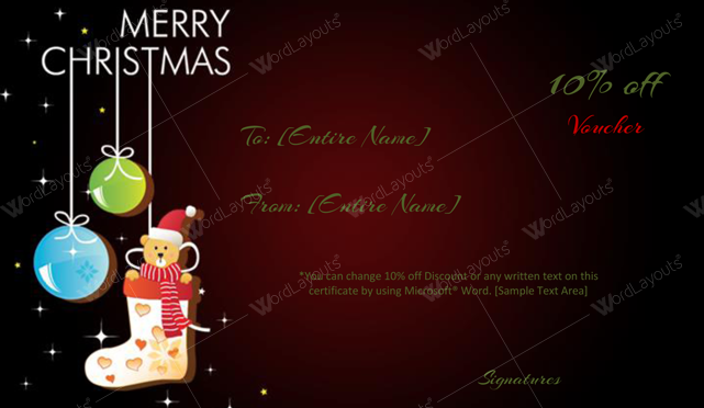 Christmas Gift Certificate (Bear, gift certificate template PDF)