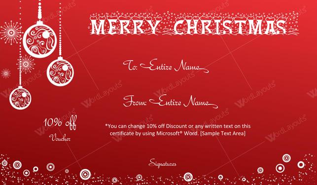 Christmas Gift Certificate (Bells, editable Christmas gift certificate)