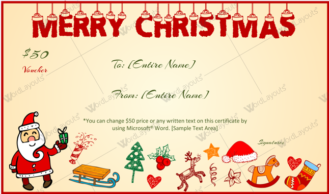 Christmas Gift Certificate (Border, Company Gift Certificate)