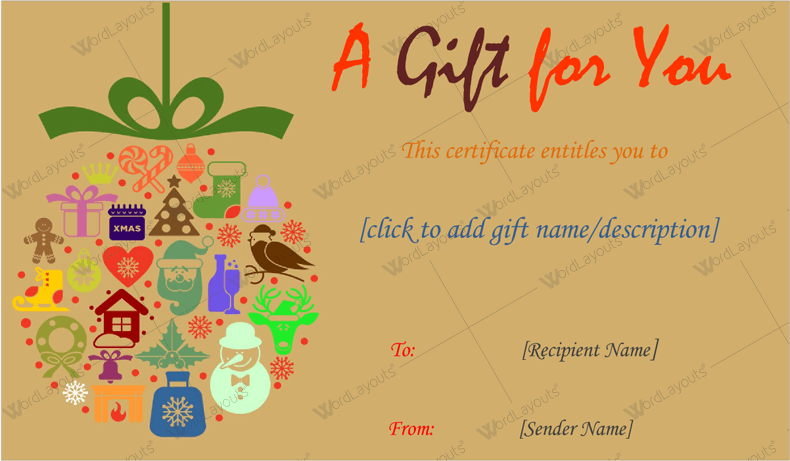 Christmas Gift Certificate (Brown, Word Format)