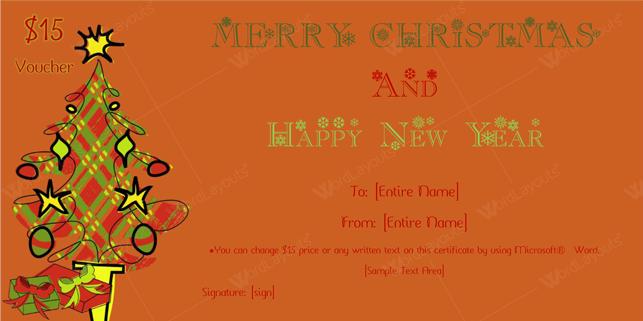 Christmas Gift Certificate (Burgundy, Printable and Editable)
