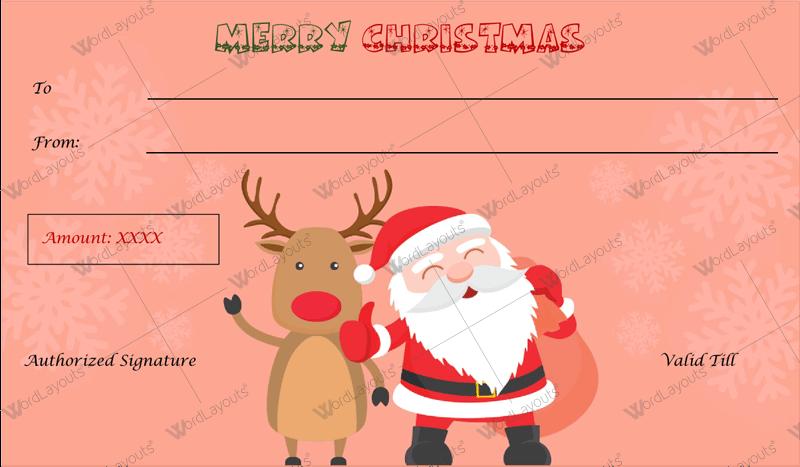 Christmas Gift Certificate (Dark pink. printable Christmas gift certificate)