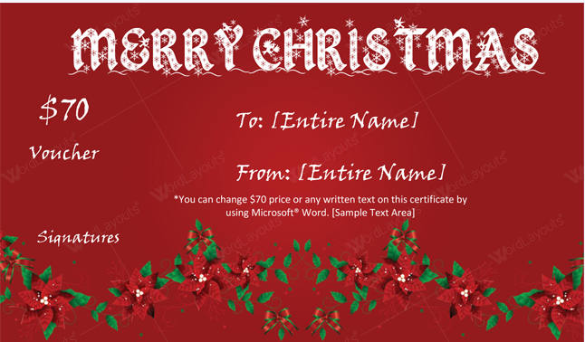 Christmas Gift Certificate (Floral red, Word Format)