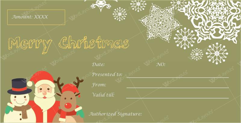 Christmas Gift Certificate (Friendly, voucher design template)