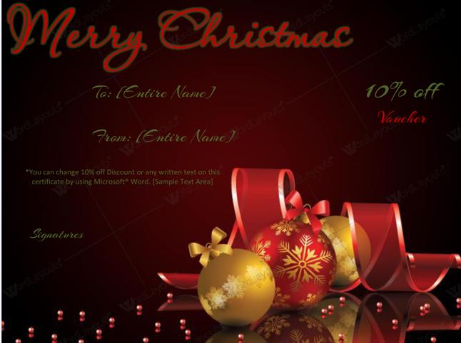 Christmas Gift Certificate (Golden, Word Format)