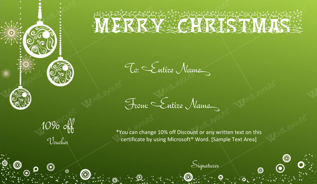 Christmas Gift Certificate (Green, printable Christmas gift certificate)