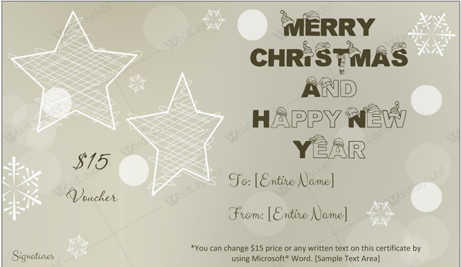Christmas Gift Certificate (Grey, Company Gift Certificate)