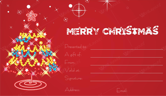 Christmas Gift Certificate (Lights, create Christmas gift certificate)