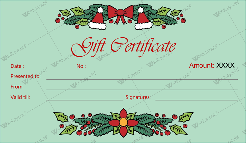 Christmas Gift Certificate (Mint, gift certificate template PDF)