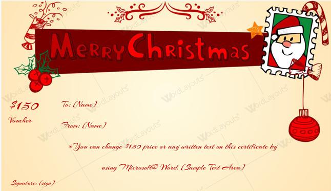 Christmas Gift Certificate (Peach,create Christmas gift certificate)