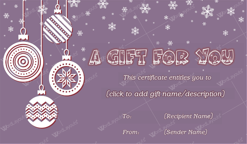 Christmas Gift Certificate (Purple, Company Gift Certificate)