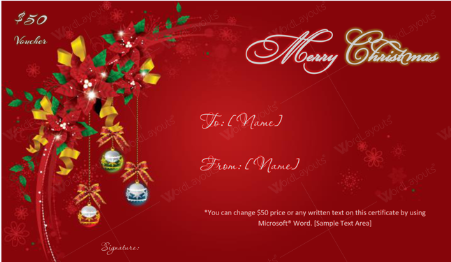 Christmas Gift Certificate (Red, editable Christmas gift certificate)