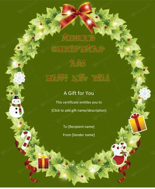 Christmas Gift Certificate (Round, customizeable Christmas gift certificate)