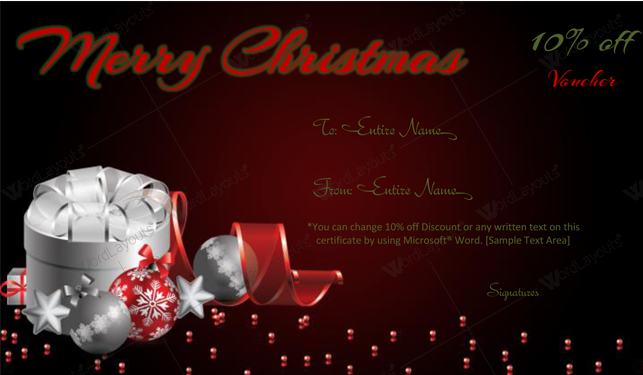 Christmas Gift Certificate (Silver, gift certificate maker)