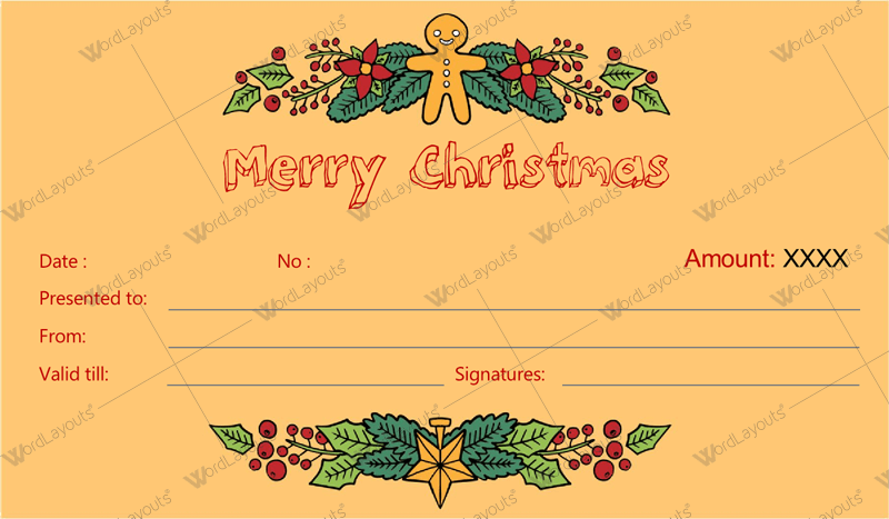 Christmas Gift Certificate (flowers, Word Format)