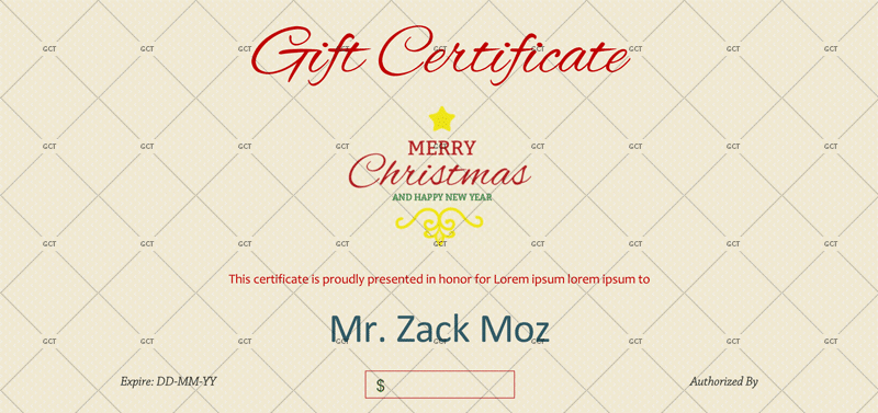 Christmas-Gift-Certificate in WORD and PDF