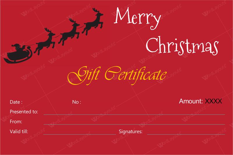 Christmas Gift Certificate (senta, gift certificate template PDF)