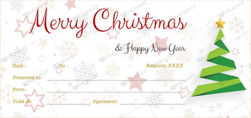 Christmas Gift Certificate (snowflake, customizeable Christmas gift certificate)
