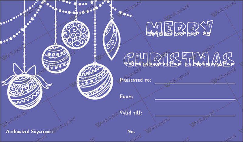 Christmas Gift Certificate (violet, Company Gift Certificate )